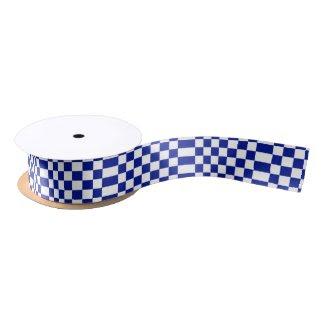 Royal Blue and White Checkered Pattern Satin Ribbon