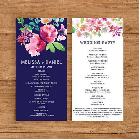 Printable Wedding Program Template   Floral Ceremony