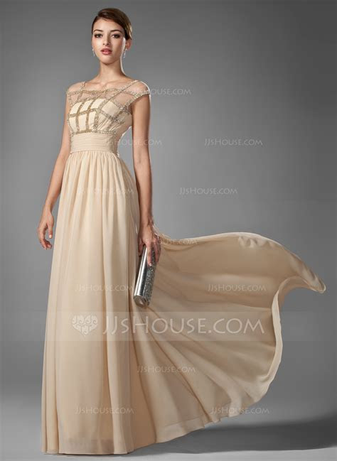 A Line/Princess Scoop Neck Floor Length Chiffon Prom