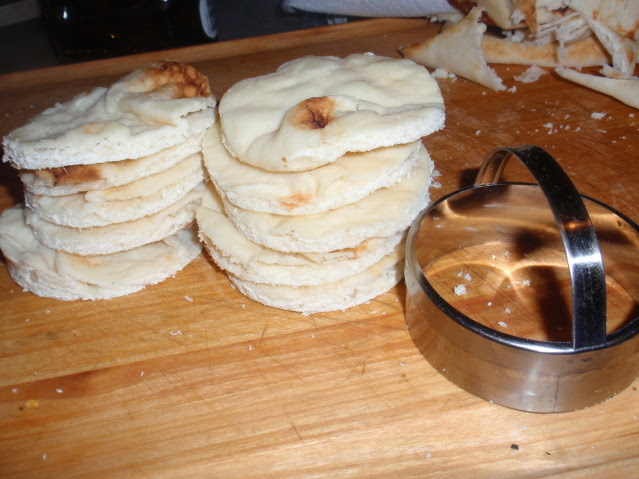 cut the naan into circles with a biscuit cutter