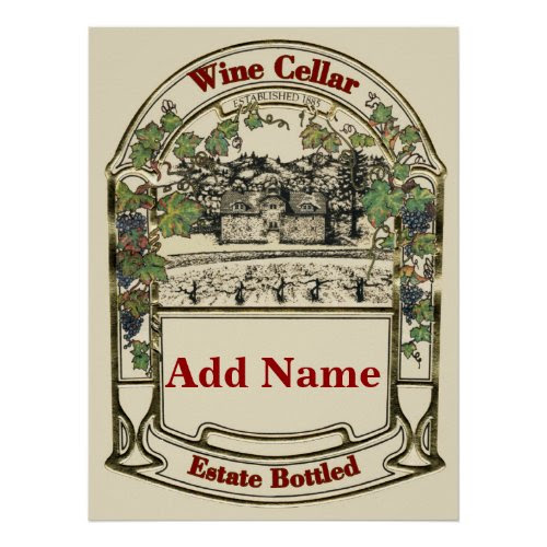 Wine Cellar Estate Bottled Poster - Personalized with Any Name