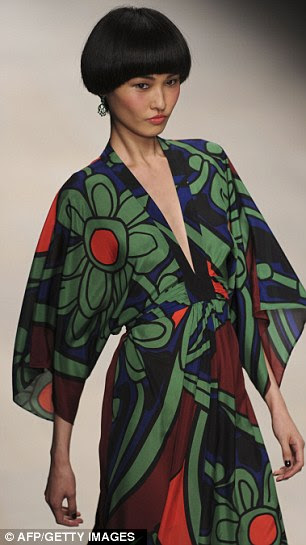 Flowing kimono styles were printed with bold graphic florals