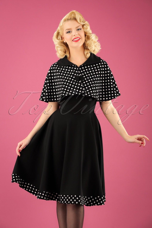 50s lesly polkadot cape swing dress in black
