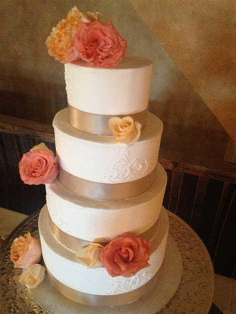 Coral and champagne wedding cake   Wedding Cakes