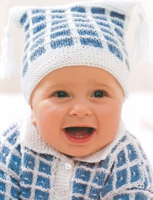 Free knitting pattern for Check Stitch Baby Set with baby hat and baby cardigan sweater