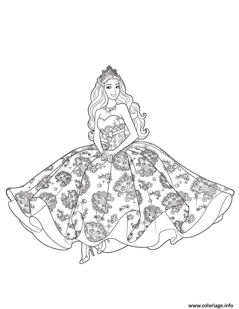Coloriage Princesse Barbie Reine Des Neiges Jecoloriecom
