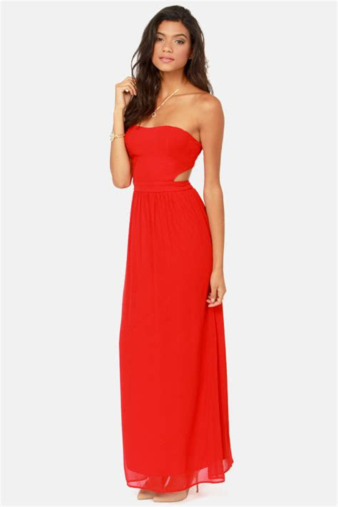 cute red dress strapless dress maxi dress