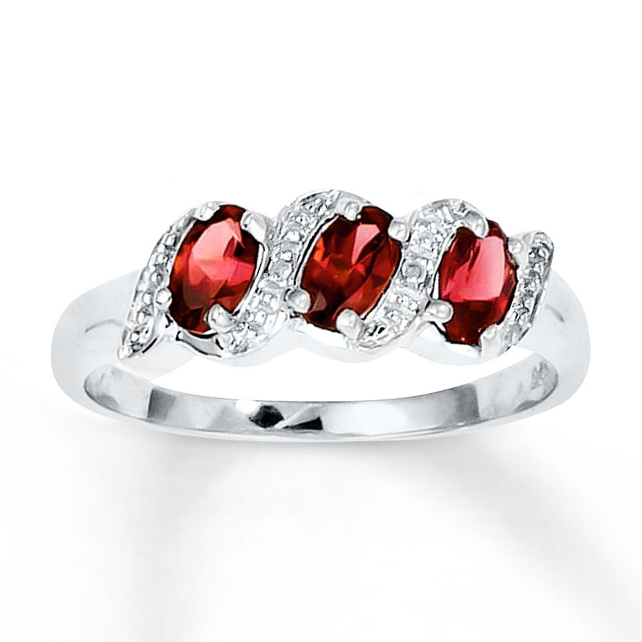 f373d8005a3d1c Jared - Oval Garnet Ring Diamond Accents Sterling Silver