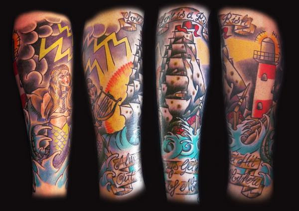 Colored Lighthouse And Ship Leg Tattoos