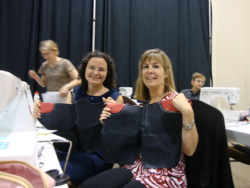 Me and Bonnie with samples we made at the jeans class.