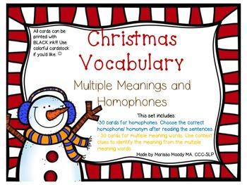 Christmas Homophones and Multiple Meanings: FREEBIE