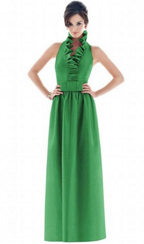 Alfred Sung Ruffle Neck Long Bridesmaid Dress D469 by