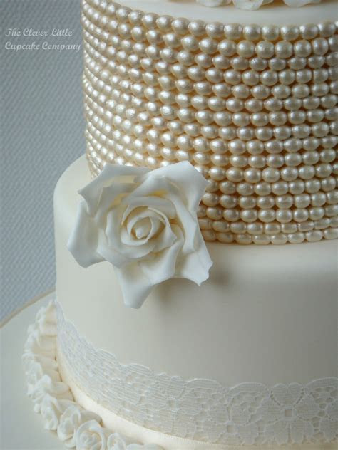 Vintage Lace And Pearl Wedding Cake   CakeCentral.com