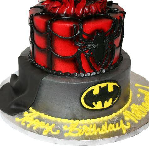 (1561) Superman, Spiderman, & Batman Cake   ABC Cake Shop