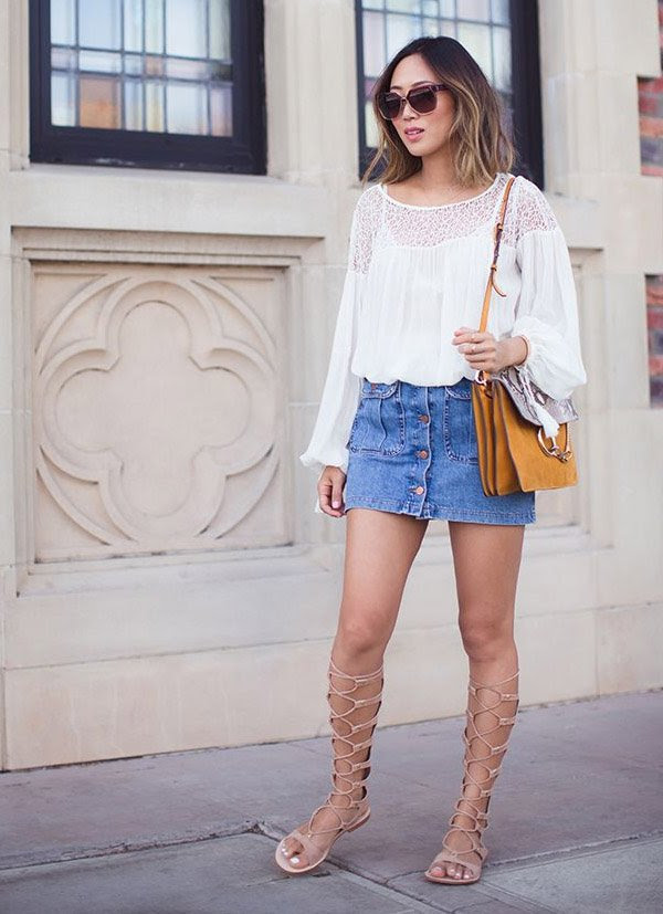 jeans-denim-skirt-blouse-lace-gladiator-shoes