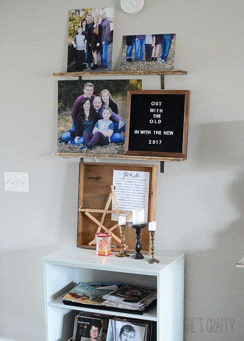 open shelves, shelf to hold pictures and art
