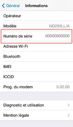 iPhone 5 numéro de série