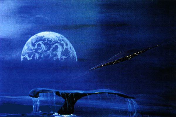 A starship in the dark sky of a blue world Below the saucer shaped spaceship is the tail fin of a just diving cetacean. An other planet on the horizon