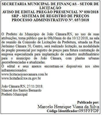João Câmara: Prefeitura realizará Pregão Presencial dia 10/12 para contratação de empresa para implantação de cadastro multifinalitário