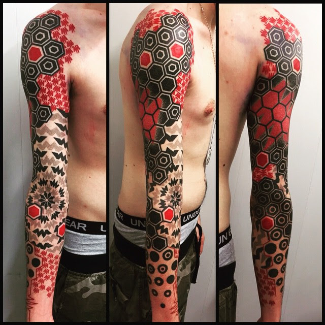 Black And Red Geometry Full Sleeve Tattoo Best Tattoo Ideas Gallery