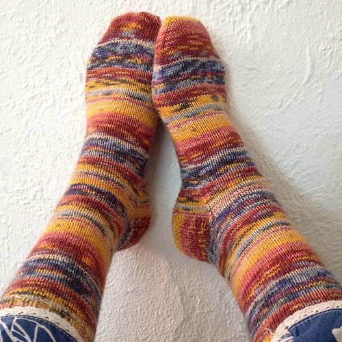 Finished socks! This is pair 7/13. The yarn is Opal Vincent Van Gogh :) #operationsockdrawer #burningsockdesire