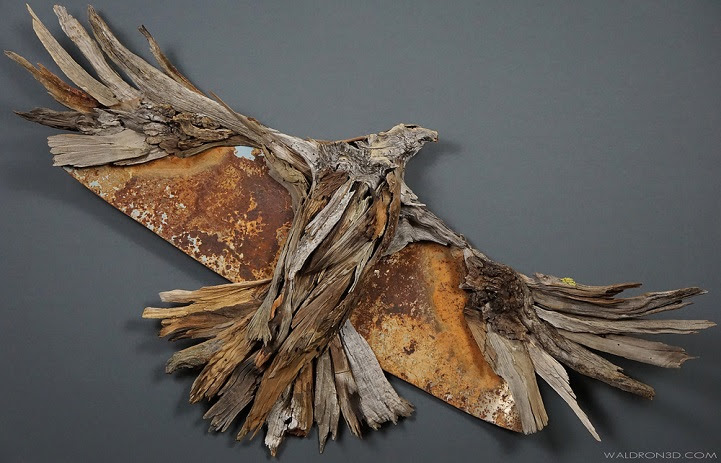 Dynamic sculptures made out of wood and metal scraps ...