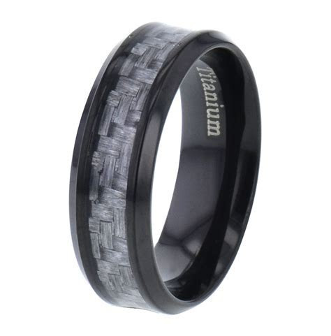 Titanium Men Wedding Band Ring Carbon Fiber Silver Black