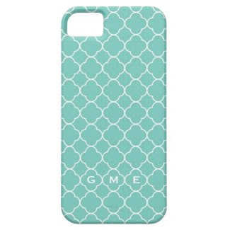 Quatrefoil clover pattern blue teal 3 monogram iPhone 5 cases