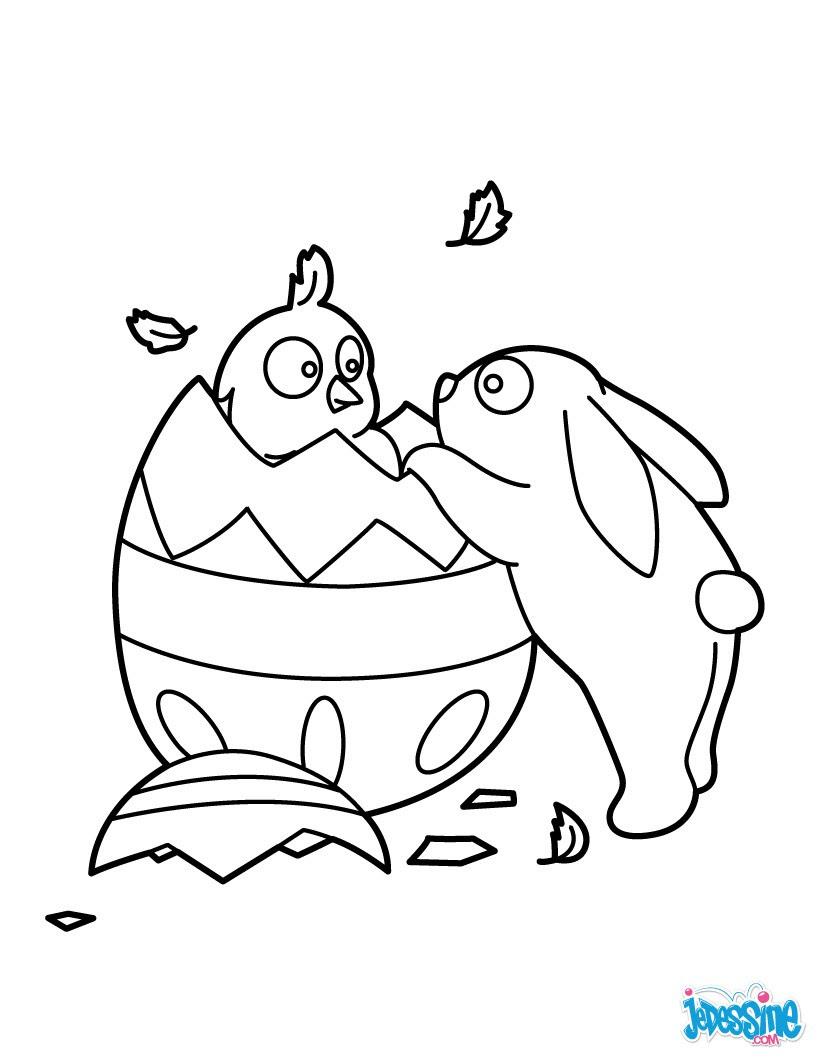 Coloriage Poussin et lapin de P¢ques