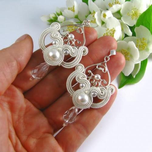 Kolczyki ślubne sutasz ivory z perłami