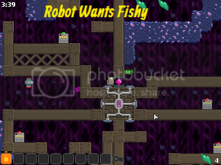 Help the robot fetch a fish and give it to the cat. #FlashGames #OnlineGames #RobotGames