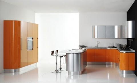 Modernas y sofisticadas cocinas en color naranja-21