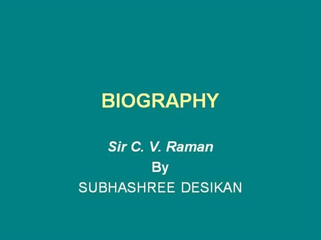 resume format  powerpoint presentation on cv raman