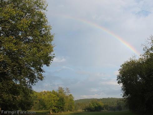 Rainbow over the hayfield - FarmgirlFare.com