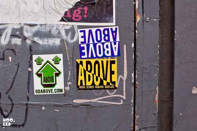 London street art stickers featuring street artist Above