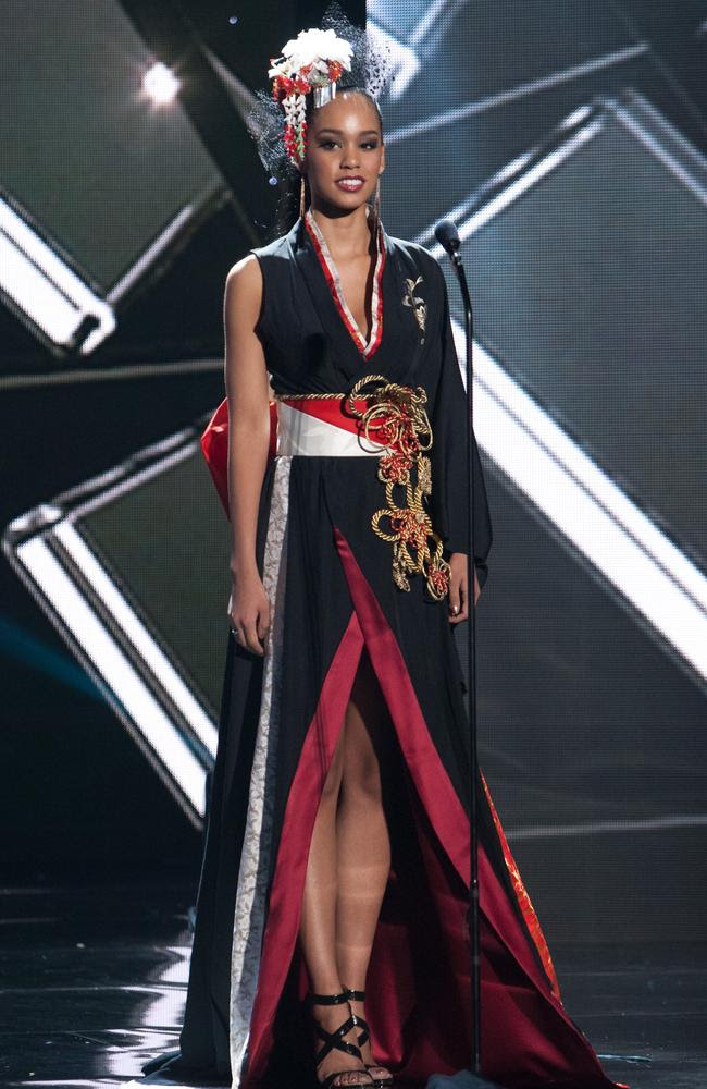 Ariana Miyamoto, Miss Japan 2015 debuts her National Costume on stage at the 2015 Miss Universe Pagaent on December 16, 2015 in Las Vegas. Picture: HO/The Miss Universe Organization