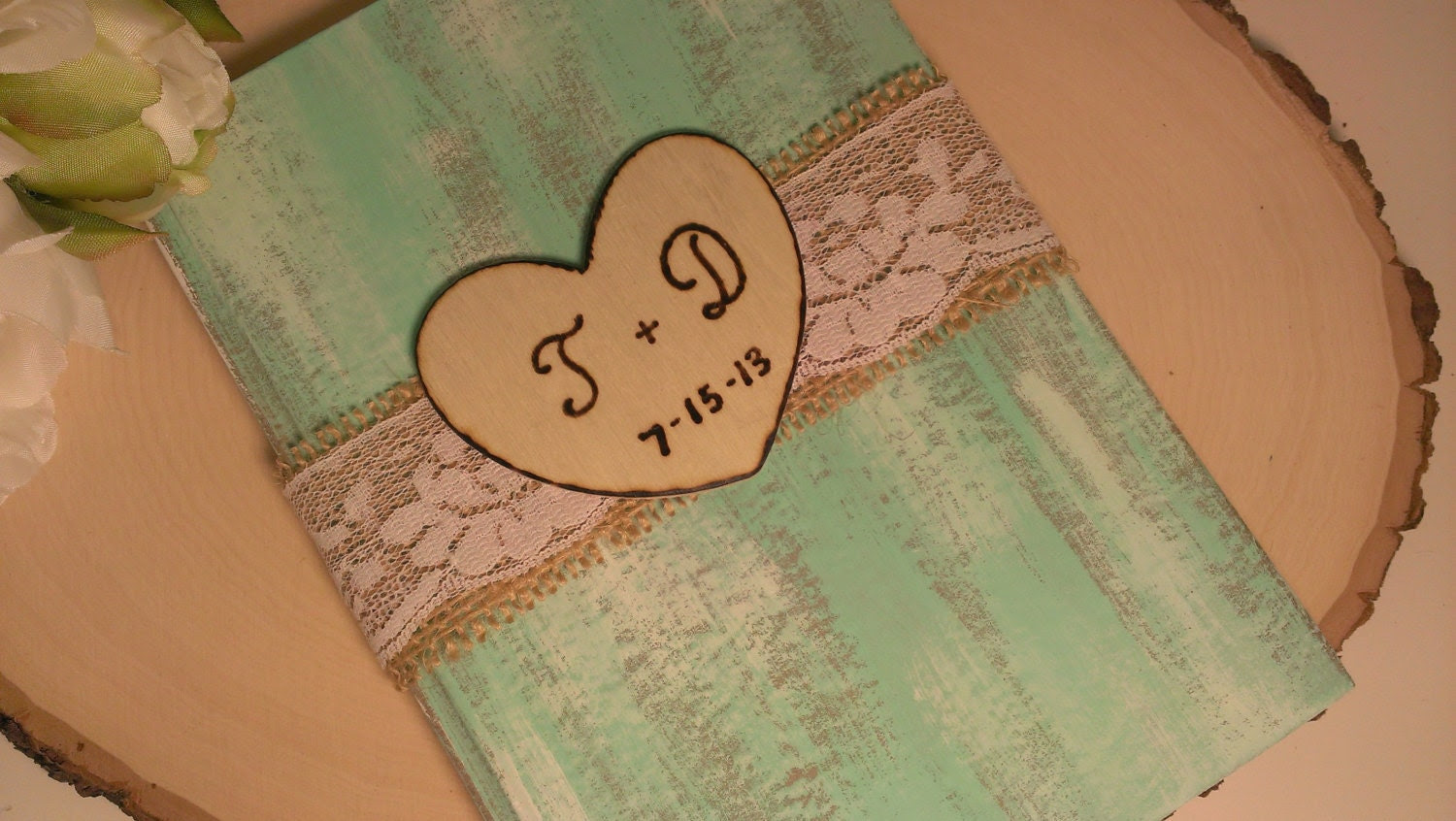 Personalized rustic guest book, country mint wedding guest book burlap and lace wedding