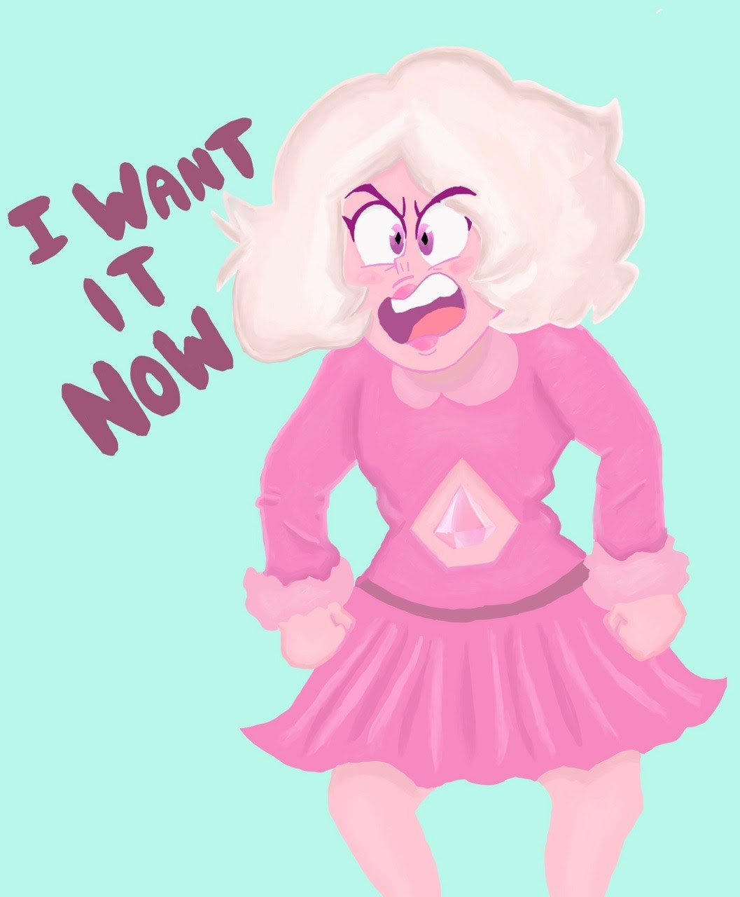 Little commission of Pink Diamond as Veruca Salt for @videogamesandcartoons