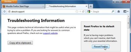 Firefox default settings