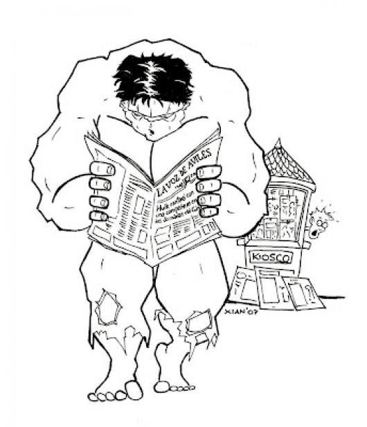Dibujo De Hulk Leyendo El Periodico Para Pintar Y Colorear