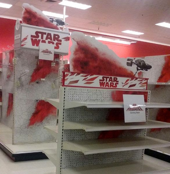The local Target store prepares to display STAR WARS: THE LAST JEDI merchandise for 'Force Friday II.'