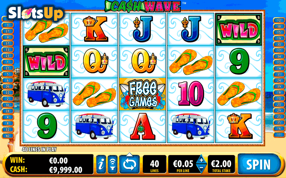 The Cash Wave slot game features 40 win-lines.As with most Bally slot games, this number is not adjustable.You can bet from 1c a line, with the max bet set by the individual casino.With the online version, you will be able to use the auto-spin button to pre-set as many spins as you like.