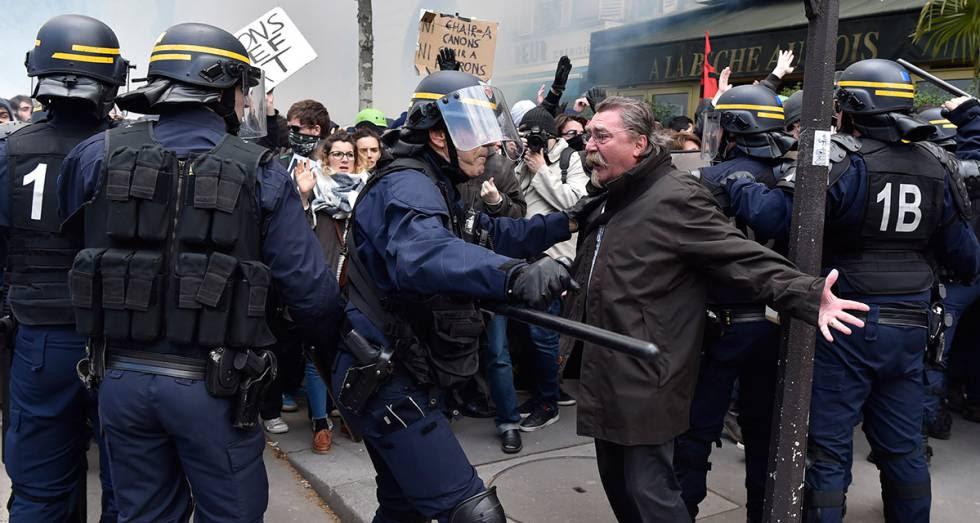 Protesta contra la reforma laboral en París (Francia), en abril.