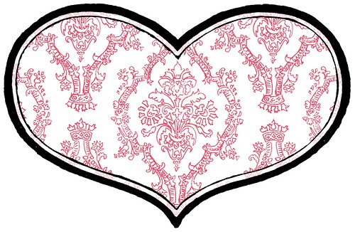 6 BRIGHT pencil damask paper HEART