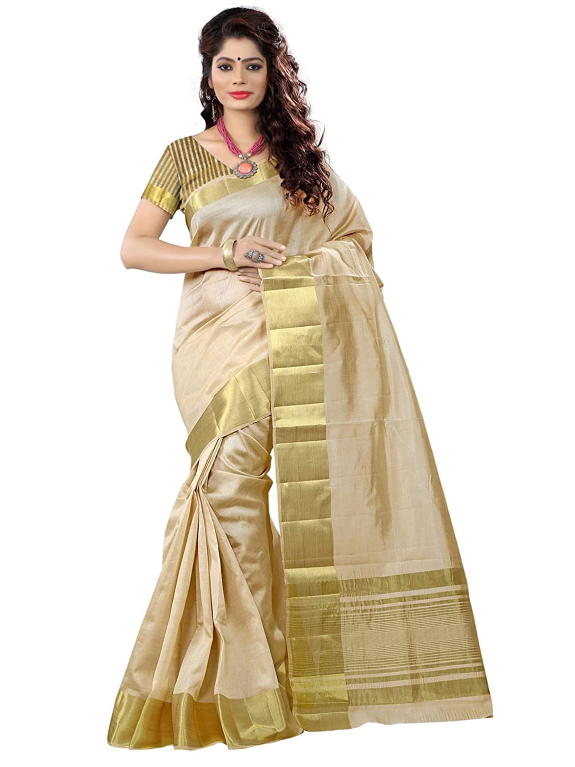 Womens Tassar Silk Saree With Zari Blouse