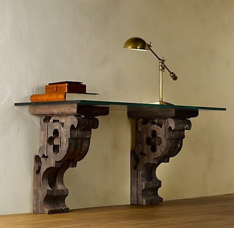 corbel & glass desk