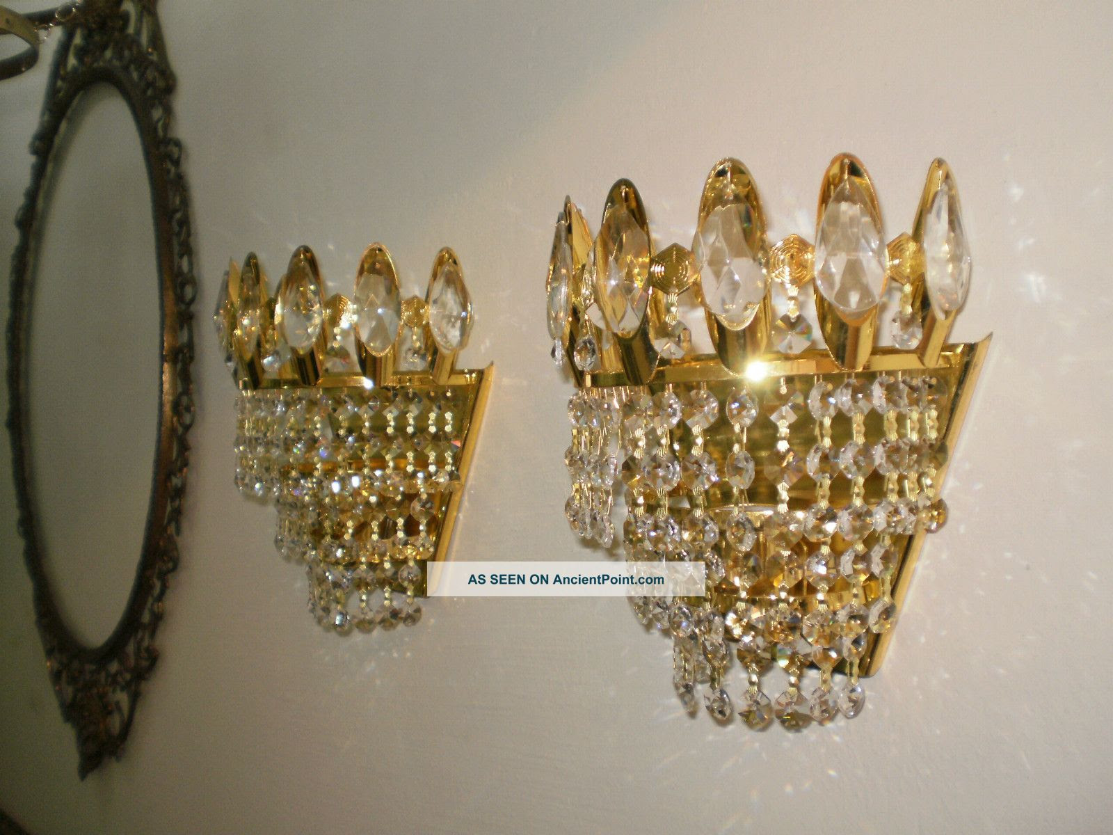 Antique Brass and Crystal Wall Sconce