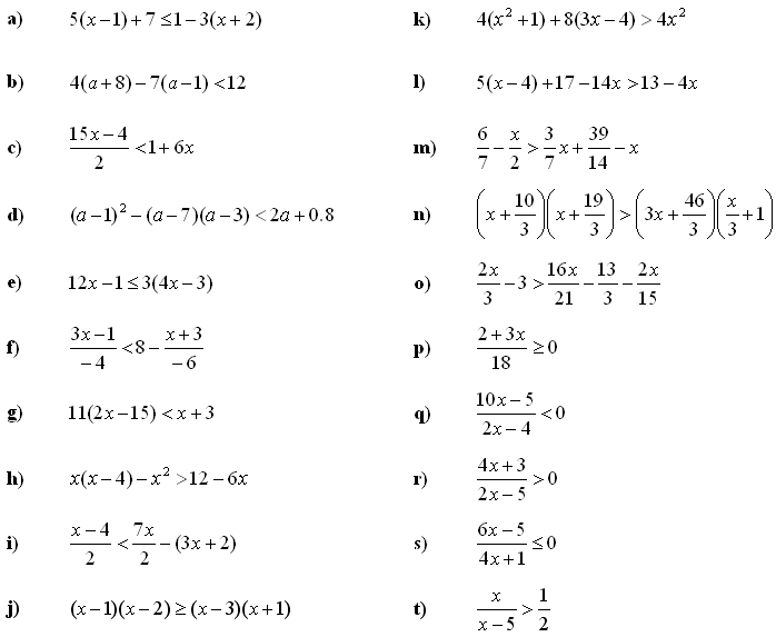 Math Exercises Math Problems Linear Equations And Inequalities