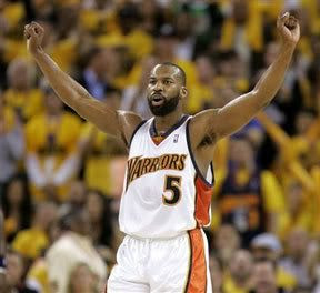 Baron Davis reacts after Golden State upsets Dallas in the first round of the NBA playoffs.