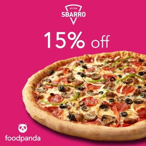 15% Off for every Sbarro order made from foodpanda